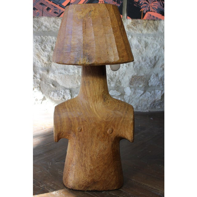 Vintage Short Wooden Torso Form Table Lamp For Sale In San Francisco - Image 6 of 6