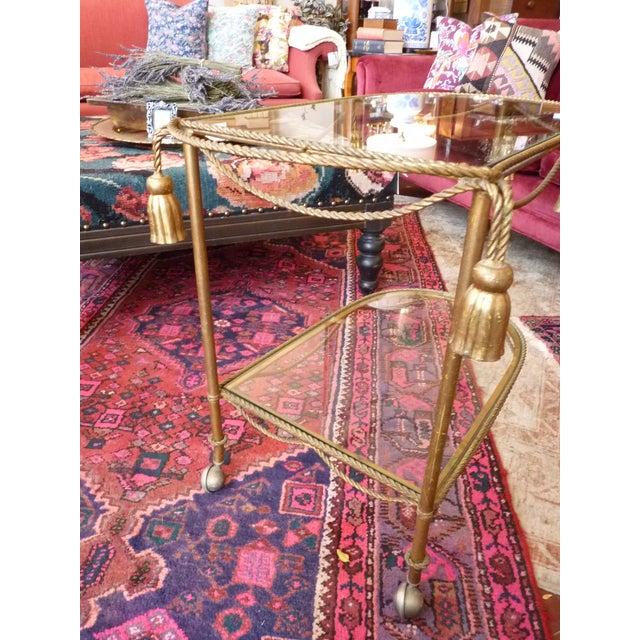 Mid Century Regency Italian Tassel Gilt Bar Cart - Image 7 of 10