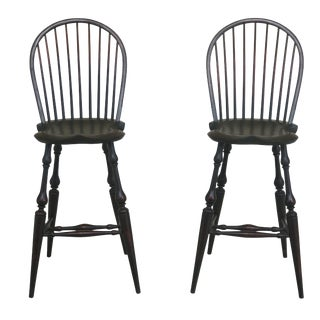 Dr Dimes Green Country Windsor High Counter Chairs- A Pair For Sale