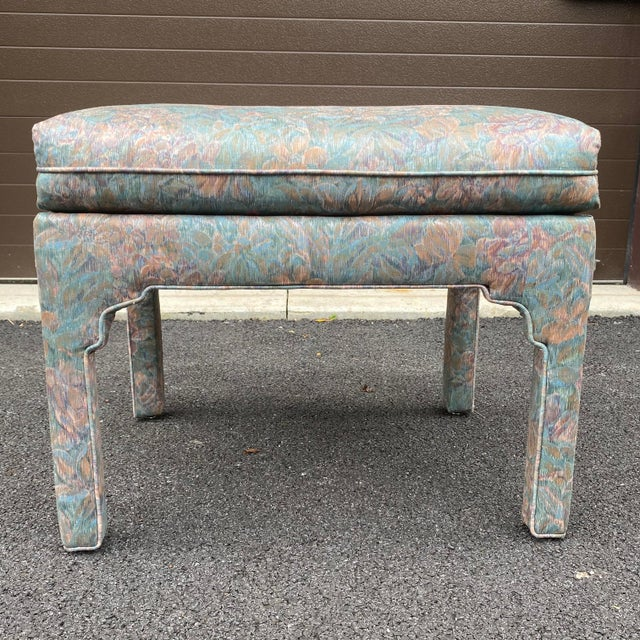 1980s Fully Upholstered Floral Bench For Sale - Image 9 of 13