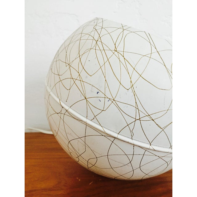 Mid Century Gold Squiggle Orb Lamp - Image 5 of 7