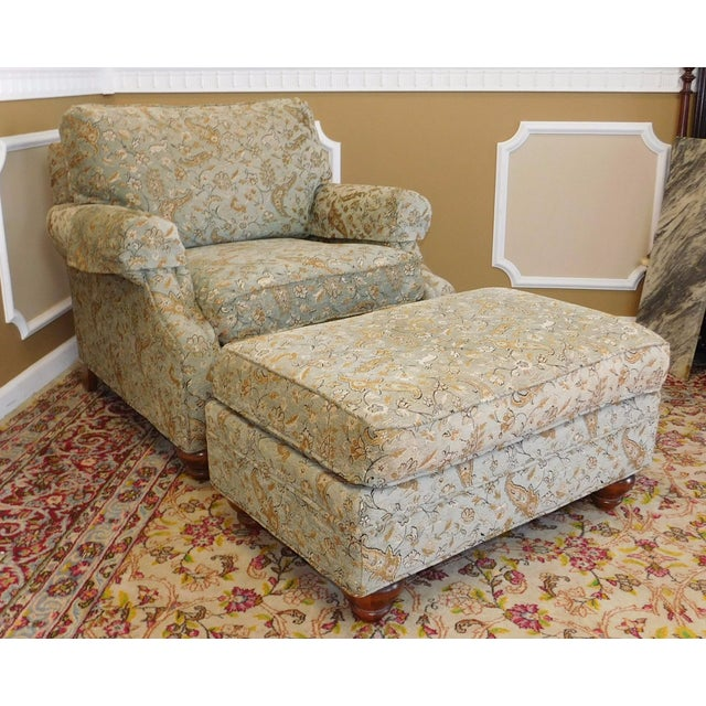 Ethan Allen Upholstered Armchair & Ottoman - Image 2 of 8