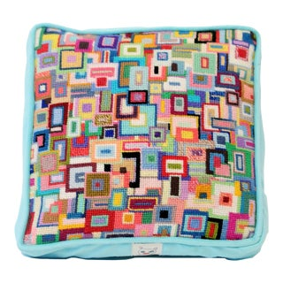 "Modern ""Hip to Be Square"" Hand-Stitched Needlepoint Pillow, One of a Kind Original Design For Sale"