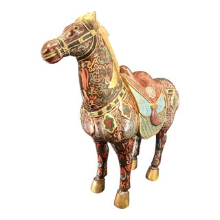 20th Century Hand Lacquered Carved Wood Tang Dynasty Style War Horse Figurine For Sale