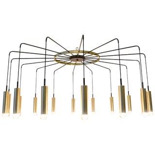 Brass and Steel Modern Spider Chandelier