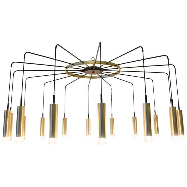 Brass and Steel Modern Spider Chandelier For Sale