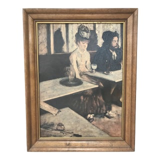 """Vintage Edgar Degas 'The 'Absinthe Drinker"""" Reproduction in Wooden Frame. For Sale"""