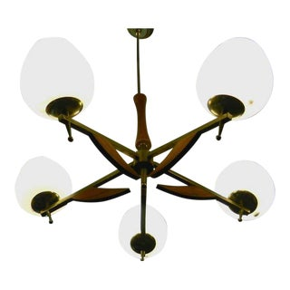 Danish Chandelier with Teak Accents For Sale