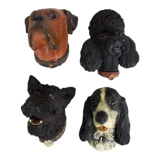 1960s Figurative Chalkware Dog Bossons From England - Set of 4 For Sale
