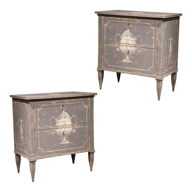Early 20th Century French Painted Nightstands or Commodes - a Pair For Sale