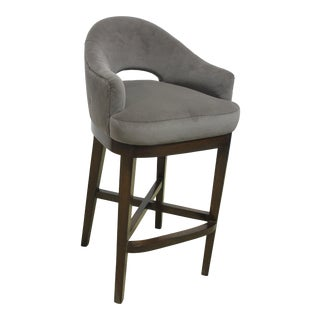 Modern Roger and Goffigon Mohair Upholstered Custom Bar Stool For Sale