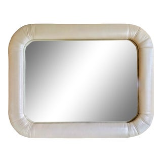 1980s Contemporary Pearlized Ivory Leather Karl Springer Style Mirror by Lane For Sale
