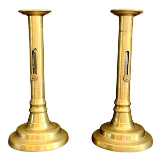 British 17th Century Brass Candlesticks - a Pair For Sale