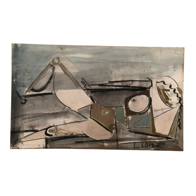 1960s Vintage Lucia Lopez Abstract Cubist Nude Painting For Sale