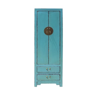 Oriental Distressed Light Aqua Blue Lacquer Moonface Slim Storage Cabinet For Sale
