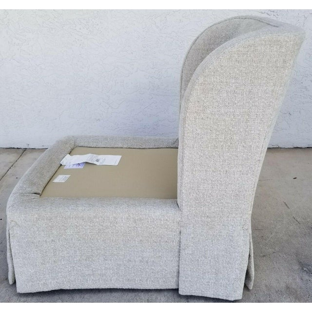 Textile Henredon Upholstery Collection Swivel Winged Slipper Lounge Chairs - Set of 2 For Sale - Image 7 of 12