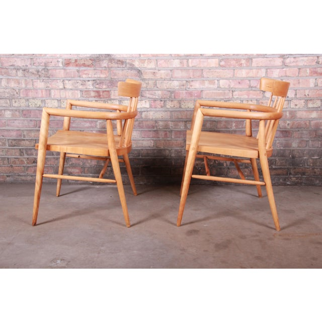 Wood Paul McCobb Planner Group Solid Maple Spindle Back Armchairs - a Pair For Sale - Image 7 of 13