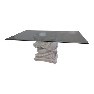 Glass Top Dolphin Dining Table