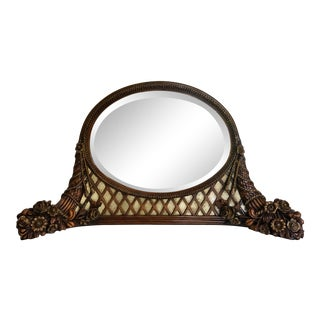 Vintage Wood Carved Beveled Vanity Mirror With Glass and Tassel Details For Sale