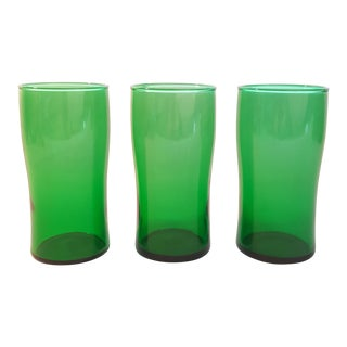16 Oz Flat Tumbler in Forest Green by Anchor Hocking, Set of 3 For Sale