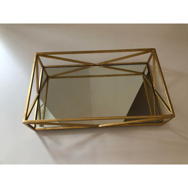 Traditional Contemporary Iron Tray With Inset Mirror in Golf Leaf For Sale - Image 3 of 9
