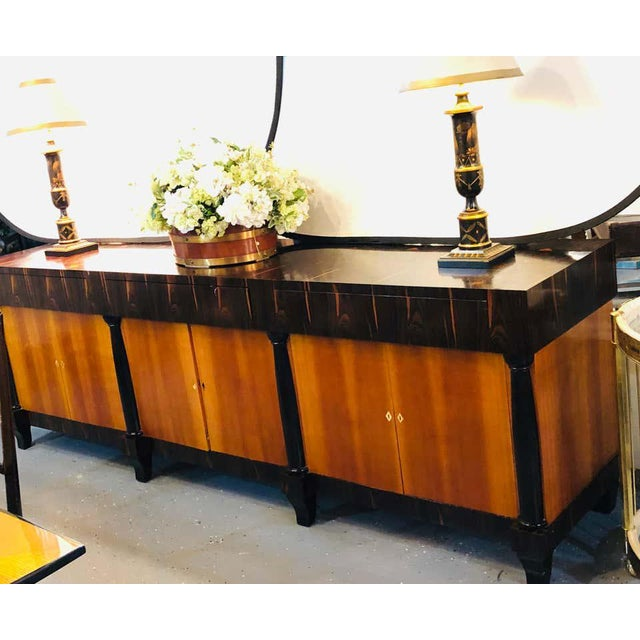 Palatial Six Door Macassar Sideboard Cabinet Ebonized Column and Feet Support For Sale - Image 10 of 13
