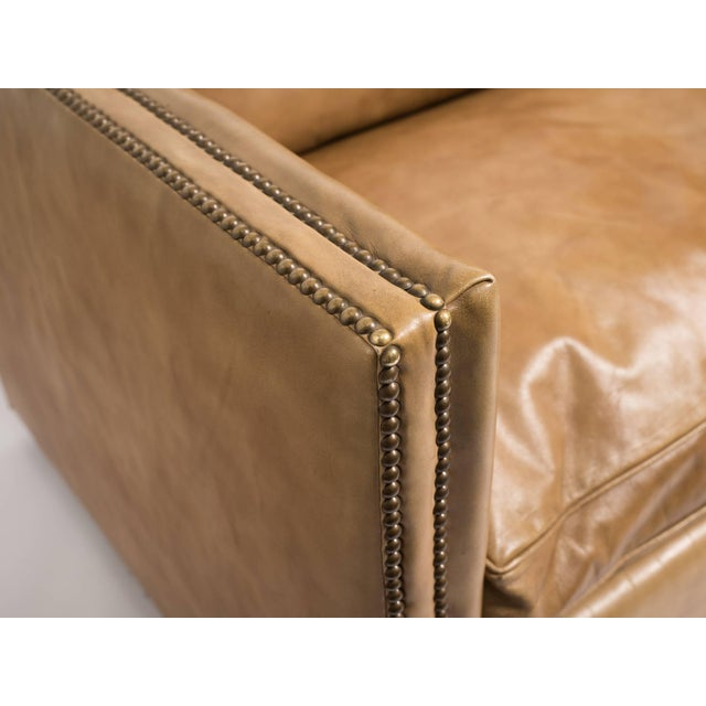 1970s Vintage Leather Nailhead Cube Settee For Sale - Image 9 of 10