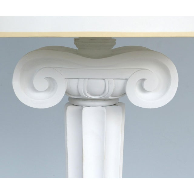Carved Wood Ionic Column Floor Lamps from the Eden Roc Hotel in Miami Beach Offered for sale is a pair of carved wood...