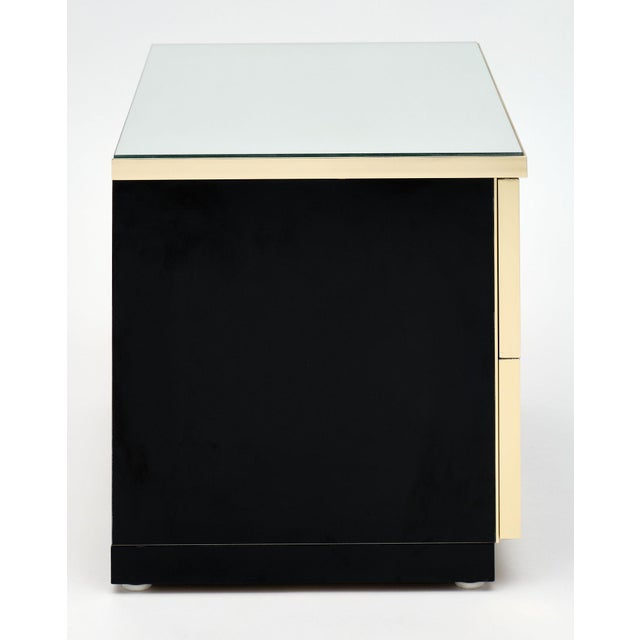 Black Modernist Mirror Top Black Lacquered Side Tables - a Pair For Sale - Image 8 of 10