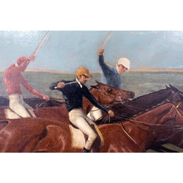 Antique Horse Racing Painting For Sale - Image 4 of 7