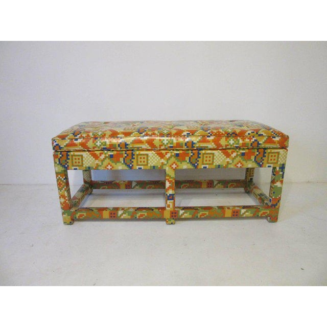Oil Cloth Upholstered Bench For Sale In Cincinnati - Image 6 of 7