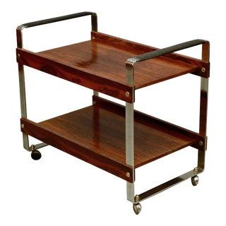 Vintage 1950s Mid-Century Modern Merrow Associates Chrome Rosewood & Leather Bar Cart Trolley For Sale