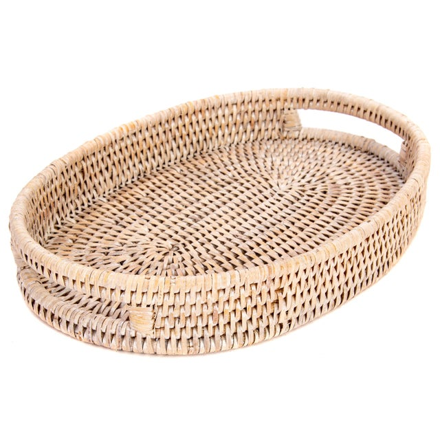 """2010s Artifacts Rattan Oval Tray 10""""x8""""x1.5"""" For Sale - Image 5 of 5"""