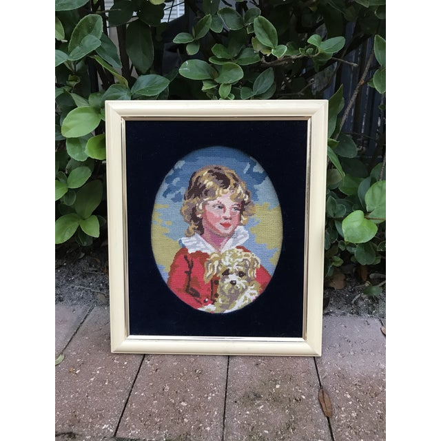 Textile Precious Petite Hand Made Needlepoint Art Piece of a Golden Haired Boy and His Dog For Sale - Image 7 of 7