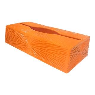Mid Century Modern Orange Tissue Dispenser Box For Sale