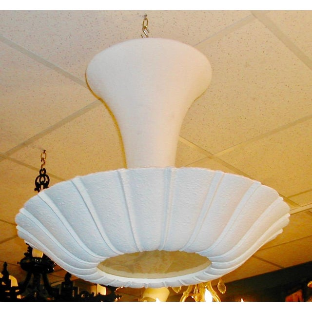 Scalloped rim plaster bowl suspended by plaster cone. Textured surface , finished in antique white gesso, wiring and...