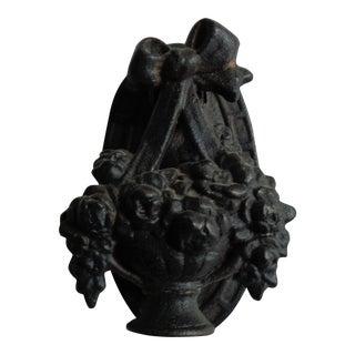 Antique Victorian Black Flower Basket Door Knocker