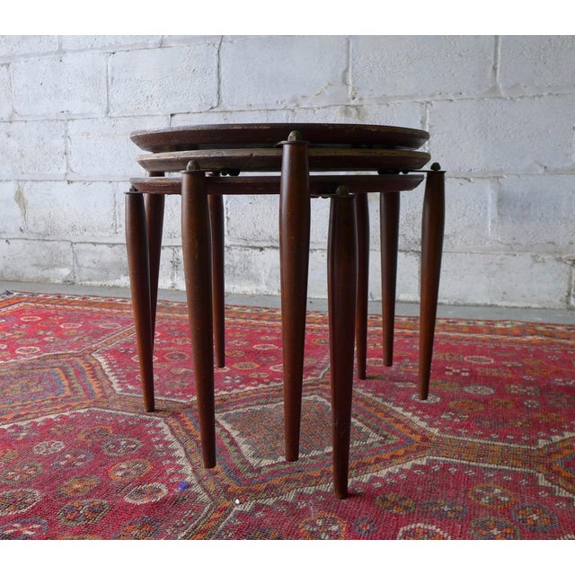 Brown Mid Century Modern Stackable Plant Stands, Set/3 For Sale - Image 8 of 8