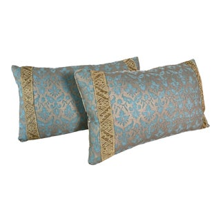 Fortuny Blue & Gold Pillows- a Pair For Sale