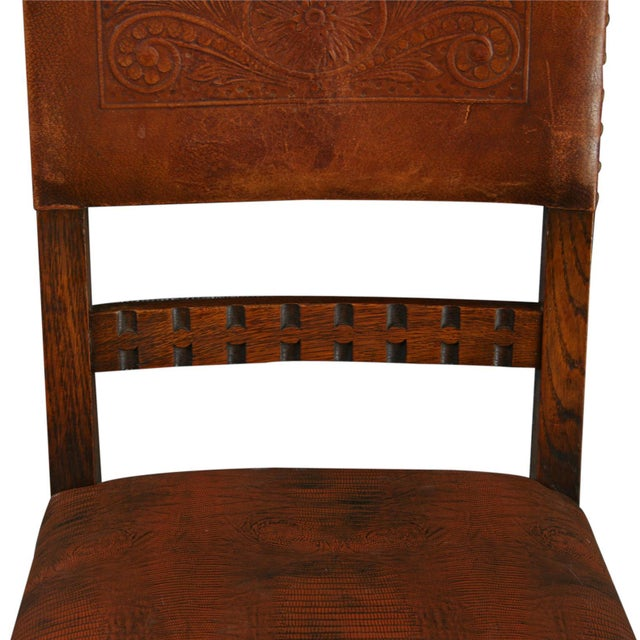 Vintage 1930 French Leather & Oak Dining Chair - Image 4 of 10