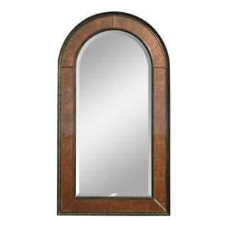 "54""h Vintage Eglomise Wall Mantle Arched Mirror by Theodore Alexander For Sale"