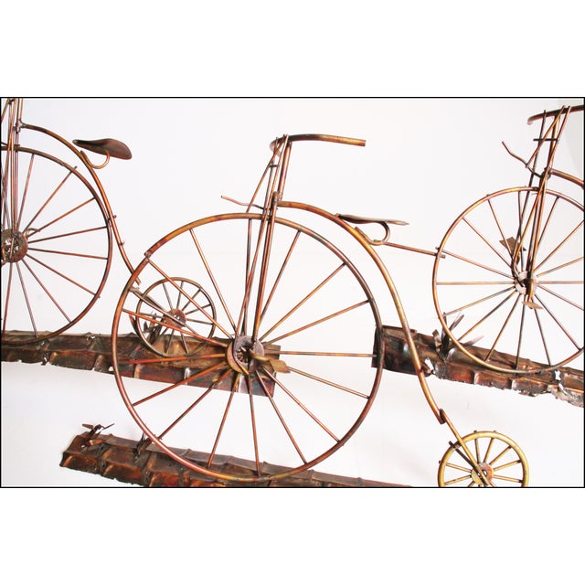 Mid Century Modern Gold Metal Penny Farthing Wall Art - Image 5 of 11
