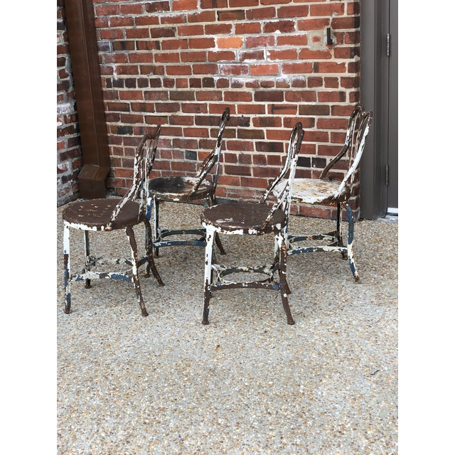 Industrial Early Toledo Uhl Steel Ice Cream Parlor Chairs - Set of 4 For Sale - Image 3 of 7
