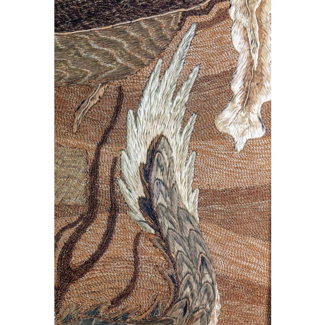Brown Framed Japanese Antique Phoenix and Dragon Tapestry Textile Meiji Period For Sale - Image 8 of 10
