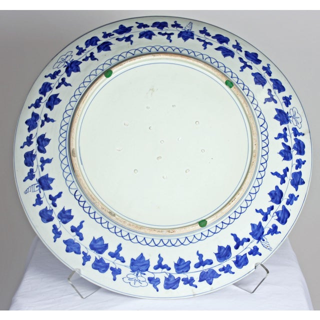 Asian 19th Century Large Blue & White Japanese Imari Charger For Sale - Image 3 of 3