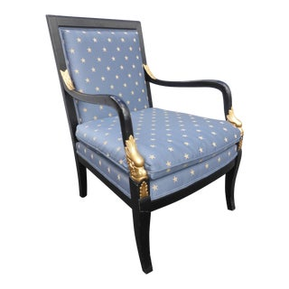 Vintage Ethan Allen French Country Blue Accent Chair For Sale