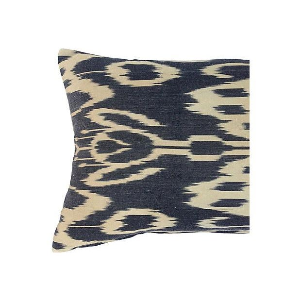 Black & Neutral Silk Ikat Pillow - Image 2 of 4