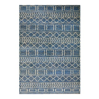 Blue Patterned Rabat Rug - 9′11″ × 14′2″ For Sale