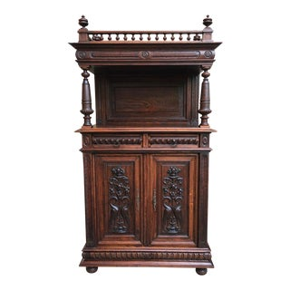 Small Antique French Carved Oak Renaissance Sideboard Cabinet Bookcase Gothic For Sale