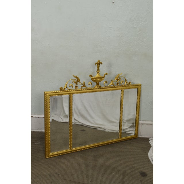 1990s La Barge Neo-Classical Style Gilt 3 Section Beveled Mirror With Urn For Sale - Image 5 of 12